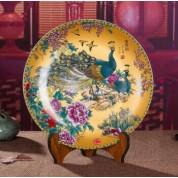 领格景德镇陶瓷器 挂盘 装饰盘现代时尚居家精致摆设 家居摆设饰品 摆件装饰盘 工艺品 金色双凤图 小号宽约25厘米