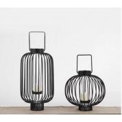 新中式黑色金属灯笼创意铁艺工艺品古典客厅玄关台风灯摆件
