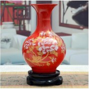 傲世瓷业 景德镇陶瓷器 小号古典描金牡丹花瓶工艺品摆件装饰品 18款可选H026 中国红赏瓶